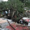 Residents and rescuers look at the damage caused by a toppled tree in suburban Quezon city, north of Manila, Philippines on Monday, Oct. 19, 2015. Army, police and civilian volunteers scrambled Monday to rescue hundreds of villagers trapped in their flooded homes and on rooftops in a northern Philippine province battered by slow-moving Typhoon Koppu. (AP Photo/Aaron Favila)