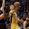 Los Angeles Lakers\' Steve Nash (10) shoots against the Phoenix Suns during the first half of an NBA basketball game, Wednesday, Jan. 30, 2013, in Phoenix. (AP Photo/Matt York)
