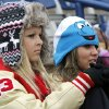 Ringwood fans Baleigh Folger, left, and Kellie Wostal bundle up while watching the Girl\'s State Softball playoffs at the ASA Hall of Fame Stadium in Oklahoma City, OK, Friday, October 5, 2012, By Paul Hellstern, The Oklahoman