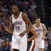 Oklahoma City Thunder\'s Kevin Durant (35) celebrates a bucket as the Oklahoma City Thunder defeat the Portland Trail Blazers 106-92 in NBA basketball at the Chesapeake Energy Arena in Oklahoma City, on Friday, Nov. 2, 2012. Photo by Steve Sisney, The Oklahoman