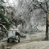 WINTER / COLD / WEATHER / ICE STORM 2007: John Conrad Golf Course in Midwest City is unplayable for an undetermined period until tree branches can be removed from the course. According to Larry Denney, course director, at least 80 per cent of trees on the course sustained some damage from heavy ice. Denney and C.B. Hutchins, groundskeeper, look at some of the damage near the first green Tuesday morning, Dec. 11, 2007. By Jim Beckel, The Oklahoman. ORG XMIT: KOD