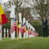 Photo - US President Barack Obama, third right,  tours the American cemetery at Flanders Field with Belgian King Phillippe and Belgian Prime Minister Elio Di Rupo,  far right, in Waregem, Belgium, Wednesday, March 26, 2014.   President Barack Obama paid tribute to American troops who died a century ago in the struggle to save Europe in World War I. Obama laid a wreath at a memorial at Flanders Field in Belgium, where hundreds of fallen U.S. troops who helped liberate Belgium were buried.  (AP Photo/Pablo Martinez Monsivais)