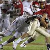 Oklahoma\'s Frank Alexander (12) chases down Florida\'s Clint Trickett (9) during a college football game between the University of Oklahoma (OU) and Florida State (FSU) at Doak Campbell Stadium in Tallahassee, Fla., Saturday, Sept. 17, 2011. Oklahoma won 23-13. Photo by Bryan Terry, The Oklahoman