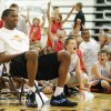 Children react after Kevin Durant made a half-court shot while sitting during Kevin Durant Basketball Camp on Thursday, July 1, 2010, at Heritage Hall School in Oklahoma City. Photo by Nate Billings, The Oklahoman.