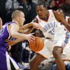 Oklahoma City\'s Kevin Durant, right, defends Sergio Rodriguez (10) of Sacramento during the NBA preseason game between the Sacramento Kings and the Oklahoma City Thunder at the Ford Center in Oklahoma City, Thursday, Oct. 22, 2009. Photo by Nate Billings, The Oklahoman