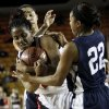 East Central\'s Felecia Achilefu (24) battles for the ball with Shawnee\'s Kelsee Grovey (23), back, and Diamond Young (22) during the Class 5A girls high school basketball state tournament championship game between Shawnee and East Central at the Mabee Center in Tulsa, Okla., Saturday, March 10, 2012. Photo by Nate Billings, The Oklahoman