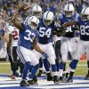Indianapolis Colts\' Vick Ballard (33) reacts following a 1-yard touchdown run during the first half of an NFL football game against the Houston Texans, Sunday, Dec. 30, 2012, in Indianapolis. (AP Photo/AJ Mast)