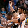 Orlando\'s Dwight Howard runs into pressure from OKlahoma City\'s Eton Thomas during the NBA basketball game between the Orlando Magic and the Oklahoma City Thunder at the Ford Center in Oklahoma City, on Sunday, Nov. 8, 2009. By John Clanton, The Oklahoman