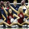 The Oklahoma pom squad performs on the baseline during the first half in the Elite Eight game of NCAA Men\'s Basketball Regional between the University of North Carolina and the University of Oklahoma at the FedEx Forum on Sunday, March 29, 2009, in Memphis, Tenn. PHOTO BY CHRIS LANDSBERGER, THE OKLAHOMAN