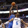 Oklahoma City\'s Kevin Durant (35) shoots the ball in front of Tyson Chandler (6) of Dallas during game 1 of the Western Conference Finals in the NBA basketball playoffs between the Dallas Mavericks and the Oklahoma City Thunder at American Airlines Center in Dallas, Tuesday, May 17, 2011. Photo by Bryan Terry, The Oklahoman