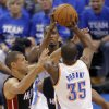 Oklahoma City\'s Kevin Durant (35) tries to shoot over Miami\'s Shane Battier (31) during Game 2 of the NBA Finals between the Oklahoma City Thunder and the Miami Heat at Chesapeake Energy Arena in Oklahoma City, Thursday, June 14, 2012. Photo by Chris Landsberger, The Oklahoman