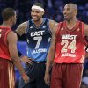 Western Conference\'s Chris Paul (3), of the Los Angeles Clippers, Eastern Conference\'s Carmelo Anthony (7), of the New York Knicks, and Western Conference\'s Kobe Bryant (24), of the Los Angeles Lakers, talk before the NBA All-Star basketball game, Sunday, Feb. 26, 2012, in Orlando, Fla. (AP Photo/Chris O\'Meara) ORG XMIT: DOA129