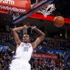 Oklahoma City\'s Kevin Durant (35) dunks the ball during the NBA game between the Oklahoma City Thunder and the New York Knicks at Chesapeake Energy Arena in Oklahoma CIty, Saturday, Jan. 14, 2012. Photo by Bryan Terry, The Oklahoman