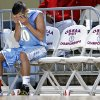 Oktaha\'s Blake Pittman sits a the end of the bench in the final seconds of the loss during the first round 2A boys State Basketball Championship game between Northeast High School and Oktaha High School at the State Fair Arena on Thursday, March 8, 2012 in Oklahoma City, Okla. Photo by Chris Landsberger, The Oklahoman
