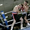 Noah Zuhdi (right) lands a punch on Isaiah Gibson during their fight at Remington Park Casino in Oklahoma City on Tuesday April 1, 2008. Zuhdi won the fight. By John Clanton, The Oklahoman
