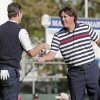 USA\'s Phil Mickelson, right, congratulates Europe\'s Justin Rose after a singles match at the Ryder Cup PGA golf tournament Sunday, Sept. 30, 2012, at the Medinah Country Club in Medinah, Ill. (AP Photo/Charlie Riedel) ORG XMIT: PGA167
