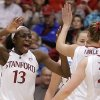 Photo - Stanford's Chiney Ogwumike (13) celebrates a score against Tulsa during the first half of a first-round game in the women's NCAA college basketball tournament on Sunday, March 24, 2013, in Stanford, Calif. (AP Photo/Ben Margot)