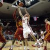 Oklahoma Sooner\'s Ryan Spangler (00) gets an offensive rebound in the first half as the University of Oklahoma Sooners (OU) men play the Iowa State Cyclones (ISU) in NCAA, college basketball at The Lloyd Noble Center on Saturday, Jan. 11, 2014 in Norman, Okla. Photo by Steve Sisney, The Oklahoman