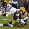 Photo -   FILE - This Sept. 13, 2012 file photo shows Green Bay Packers outside linebacker Clay Matthews sacking Chicago Bears quarterback Jay Cutler during an NFL football game in Green Bay, Wis. Cutler's outburst aside, an all-too-familiar scene played out for the Bears during last week's loss to Green Bay. Their quarterback took a beating.(AP Photo/Matt Ludtke)