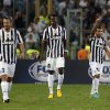 Juventus\' Carlos Tevez, of Argentina, second right, celebrates with teammates after scoring during the Italian Supercup soccer match against Lazio at the Rome Olympic stadium Sunday, Aug. 18, 2013. (AP Photo/Gregorio Borgia)