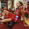 NCAA WOMEN\'S COLLEGE BASKETBALL TOURNAMENT: University of Oklahoma (OU) women\'s basketball player Nicole Griffin warms up before practice for first round of the NCAA Women\'s Basketball Championship Tournament at the Lloyd Noble Center on Saturday, March 17, 2012, in Norman, Okla. Photo by Steve Sisney, The Oklahoman