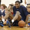 Kevin Durant, of the Oklahoma City Thunder, sits with the kids Durant\'s basketball camp at Heritage Hall on Tuesday, June 30, 2009, in Oklahoma City, Okla. Photo by Chris Landsberger, The Oklahoman