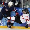 Photo - Kendall Coyne of the Untied States collides with Alina Muller of Switzerland against the boards during the first period of the 2014 Winter Olympics women's ice hockey game at Shayba Arena, Monday, Feb. 10, 2014, in Sochi, Russia. (AP Photo/Petr David Josek)