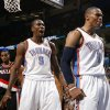 Oklahoma City\'s Russell Westbrook (0) and Serge Ibaka (9) celebrate a basket during the NBA basketball game between the Oklahoma City Thunder and the Portland Trailblazers, Sunday, March 27, 2011, at the Oklahoma City Arena. Photo by Sarah Phipps, The Oklahoman