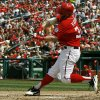 Washington Nationals\' Bryce Harper hits a solo home run during the fifth inning of a baseball game against the Miami Marlins at Nationals Park Saturday, Sept. 8, 2012, in Washington. (AP Photo/Alex Brandon) Alex Brandon