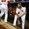 Washington Nationals\' Jayson Werth looks on after Game 5 of the National League division baseball series St. Louis Cardinals on Saturday, Oct 13, 2012, in Washington. St. Louis won 9-7. (AP Photo/Alex Brandon)