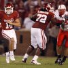 Quarterback Sam Bradford (14) looks for running room against Nebraska during the first half of the college football game between the University of Oklahoma Sooners (OU) and the University of Nebraska Huskers (NU) at the Gaylord Family-Oklahoma Memorial Stadium, on Saturday, Nov. 1, 2008, in Norman, Okla. BY NATE BILLINGS, THE OKLAHOMAN