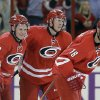 Photo - From left to right, Carolina Hurricanes' Jeff Skinner, Riley Nash and Radek Dvorak, of the Czech Republic, celebrate Dvorak's goal against the Detroit Red Wings during the first period of an NHL hockey game in Raleigh, N.C., Friday, Oct. 4, 2013. (AP Photo/Gerry Broome)