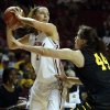 Oklahoma\'s Nicole Kornet looks to pass over Michaela Dapprich as the University of Oklahoma Sooners (OU) play the Wichita State Shockers in NCAA, women\'s college basketball at The Lloyd Noble Center on Sunday, Nov. 10, 2013 in Norman, Okla. Photo by Steve Sisney, The Oklahoman