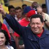 Accompanied by his daughter Rosa Virginia, left, Venezuela\'s President Hugo Chavez gestures to supporters as he leaves the polling station after voting in the presidential election in Caracas, Venezuela, Sunday, Oct. 7, 2012. Chavez is running for re-election against opposition candidate Henrique Capriles. (AP Photo/Rodrigo Abd)