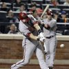 Arizona Diamondbacks\' Cody Ransom hits an RBI single during the eighth inning of a baseball game against the New York Mets, Friday, May 4, 2012, in New York. (AP Photo/Frank Franklin II)