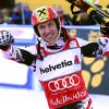 Photo - FILE - In this Jan. 12, 2014 file photo Austria's Marcel Hirscher celebrates in the finish area after winning an alpine ski World Cup men's slalom in Adelboden, Switzerland. Austria's top Alpine skier Marcel Hirscher says the pressure is off him at the Sochi Olympics after teammate Matthias Mayer won the men's downhill.(AP Photo/Giovanni Auletta, File)