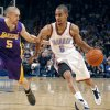 Oklahoma City\'s Thabo Sefolosha (2) tries to get by Lakers\' Steve Blake (5) during the NBA basketball game between the Oklahoma City Thunder and the Los Angeles Lakers, Sunday, Feb. 27, 2011, at the Oklahoma City Arena.Photo by Sarah Phipps, The Oklahoman