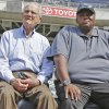 Photo - In this June 11, 2013, photo, San Diego Padres broadcaster Jerry Coleman and former player Tony Gwynn watch batting practice before a baseball game between the Padres and the Atlanta Braves in San Diego. Gwynn remains in the thoughts of his San Diego State Aztecs, who have reached the NCAA regionals for the second straight season. Gwynn has been on a medical leave of absence since late March. Coleman died in January. (AP Photo/Lenny Ignelzi)