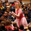Photo - Fumbelina, played by Kristin Fitzgerald, interacts with third-graders Thursday at a Cimarron Opera Company performance of
