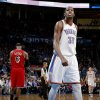 Oklahoma City\'s Kevin Durant (35) looks up as Miami\'s LeBron James (6) walks off the court during an NBA basketball game between the Oklahoma City Thunder and the Miami Heat at Chesapeake Energy Arena in Oklahoma City, Thursday, Feb. 15, 2013. Photo by Bryan Terry, The Oklahoman