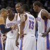 From left, Oklahoma City\'s Russell Westbrook (0), Kendrick Perkins (5), Kevin Durant (35), James Harden (13), and Serge Ibaka (9) gather during the NBA basketball game between the Denver Nuggets and the Oklahoma City Thunder in the first round of the NBA playoffs at the Oklahoma City Arena, Wednesday, April 27, 2011. Photo by Bryan Terry, The Oklahoman