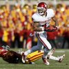 Oklahoma\'s Kenny Stills (4) leaves behind Iowa State\'s Jansen Watson (2) after a catch in the first quarter during a college football game between the University of Oklahoma (OU) and Iowa State University (ISU) at Jack Trice Stadium in Ames, Iowa, Saturday, Nov. 3, 2012. Photo by Nate Billings, The Oklahoman