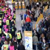 Photo - Security workers in yellow and pink jackets are on strike at the Frankfurt airport, central Germany, Friday, Feb. 21, 2014. More than three dozen flights have been canceled at Germany's largest airport after security personnel walked out to press their demand for higher wages ahead of a new round of negotiations. (AP Photo/dpa, Arne Dedert)