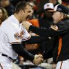 Baltimore Orioles\' Jim Thome, left, shakes hands with manager Buck Showalter after their 3-2 win over the New York Yankees in Game 2 of the American League division baseball series, Monday, Oct. 8, 2012, in Baltimore. (AP Photo/Alex Brandon)