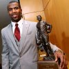 Photo - Malcolm Jenkins of Ohio State University poses with the Jim Thorpe Award trophy at the National Cowboy & Western Heritage Museum  in Oklahoma City on Monday, Feb. 9, 2009. By John Clanton, The Oklahoman ORG XMIT: KOD