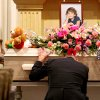 J.J. Johnson kneels in front of his daughter Aja Johnson\'s casket during her funeral at Vondel L. Smith and Son\'s South Colonial Chapel in Oklahoma City on Wednesday, April 7, 2010. Photo by John Clanton, The Oklahoman
