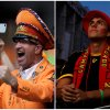 Photo - In this combination of Associated Press photos a Dutch soccer fan, left, celebrates in Salvador, Brazil and a Spanish soccer fan, right, in Madrid, watches on a giant display as the Netherlands defeat Spain during a World Cup soccer match Friday, June 13, 2014. (AP Photo)