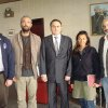 Photo - In this March 21, 2011 photo released by the  Turkish Ministry of Foreign Affairs, from left to right, New York Times journalists Stephen Farrell, Tyler Hicks, Ambassdor Levent Sahinkaya, Lynsey Addario and Anthony Shadid pose at the Turkish Embassy in Tripoli, Libya. The four New York Times journalists who had been held by Libya crossed into Tunisia on Monday after being released. (AP Photo/Turkish Ministry of Foreign Affairs)