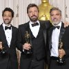 "Photo - Grant Heslov, from left, Ben Affleck, and George Clooney pose with their award for best picture for ""Argo"" during the Oscars at the Dolby Theatre on Sunday Feb. 24, 2013, in Los Angeles. (Photo by John Shearer/Invision/AP)"