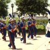 In this vintage photograph from the 1990s, members of the Millwood High School marching band march during an out-of-state band field trip. Photo provided